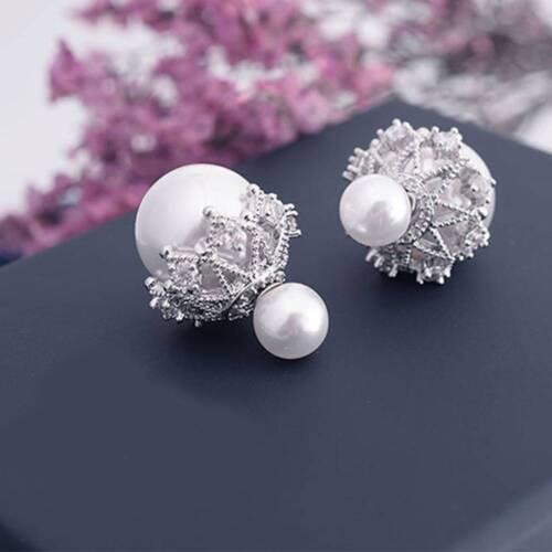 Aiguille Femme Cristal Double Face Perle Boule Oreille Goujon Boucle d/'oreille chaud