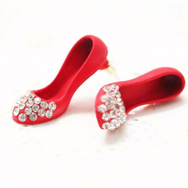Crystal Rhinestone Red High Heel Shoes Earrings Ear Studs  Women Gift Jewelry