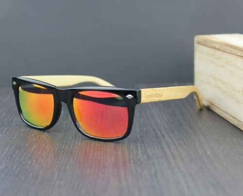 100/% naturel bambou bois TEMPLES CAT 3 BRIGHT Miroir Lentille UV400 Lunettes de soleil