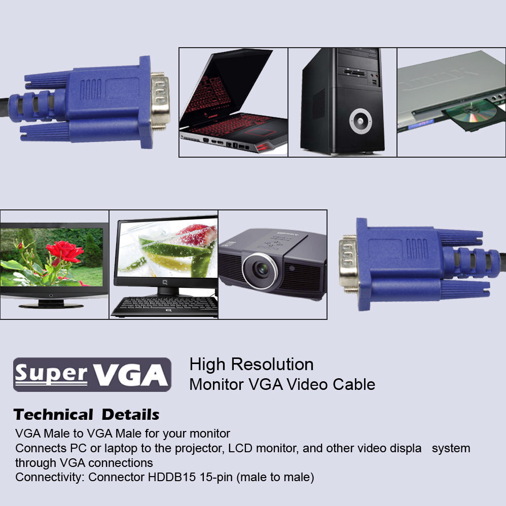 SVGA SUPER VGA Monitor 15PIN M/M Male To Male Cable CORD FOR PC TV HDTV Blue Us  | eBay