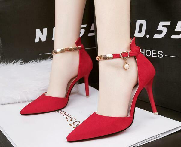 decolte Sandaleei stiletto 9 cm comodi eleganti rosso cinturino simil pelle CW989