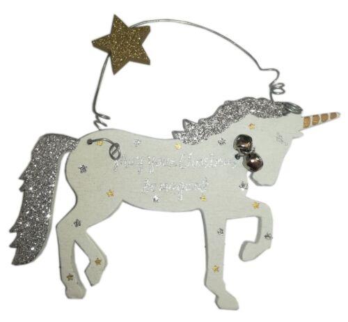 White Silver /& Gold Glitter Unicorn Wooden Christmas Tree Decoration Xmas Gift