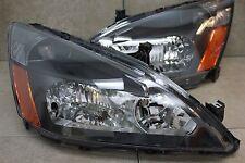 03-07 Honda Accord 2/4 Door 4cy V6 JDM Black Headlights Amber Reflector Inspire