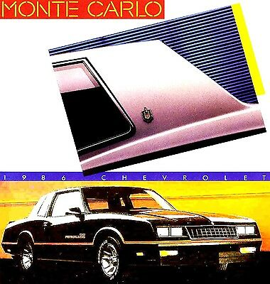 Original 1986 Chevrolet Monte Carlo  /&  S//S   Sales Catalog