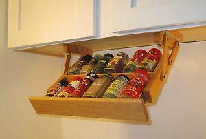 Under Cabinet Mini Spice Rack Ultimate Kitchen Storage Handmade Pull Down Racks