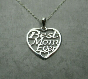 Best-Mom-Ever-Heart-Necklace-925-Sterling-Silver-Pendant-Love-Mama-Mother-039-s-Day
