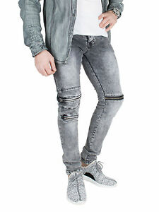 Herren Jeans Zipper Used Skinny Denim Hose Biker dicke Naht stretch ... 26fdb623e4