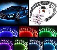 4pcs 7Color LED Strip Under Car Tube underglow Underbody System Neon Light Kit V