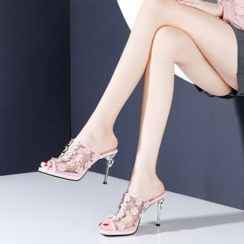 Details about  /Womens 2020 Leather Mesh Floral Open Toe High Heel Slipper Sandals Shoes BGHE