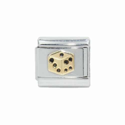 fits 9mm classic Italian charm bracelets Dice gold coloured Italian Charm