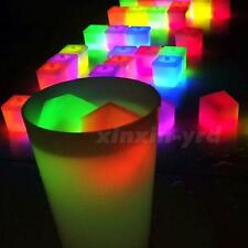 Reusable Multicolor Plastic Ice Cubes Square Bar KTV Wedding Light Sticks Club