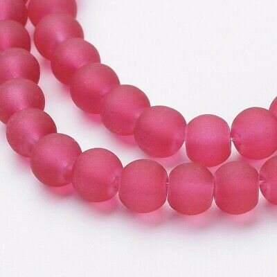 140 x 6mm Strand Deep Pink Frosted Glass Round Beads
