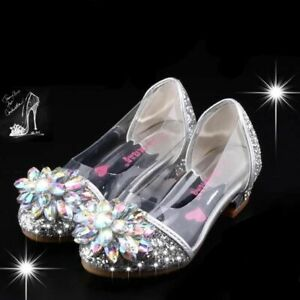 Kids Girls Christmas Birthday Party Cinderella Elsa Princess Crystal High Heels