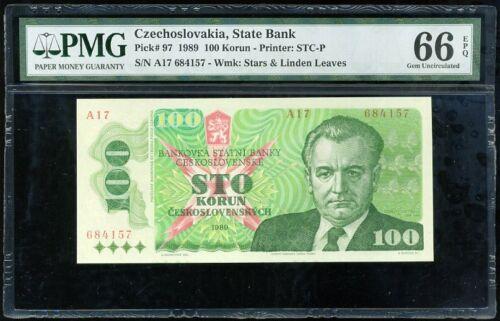 CZECHOSLOVAKIA 100 KORUN 1989 P 97 GEM UNC PMG 66 EPQ