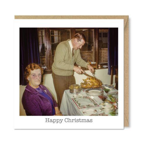Carving the Turkey Nostalgia 1960/'s 1970/'s Unique Vintage Retro Christmas Card