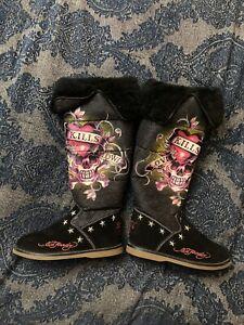 Womens-ED-HARDY-Love-Kills-Slowly-Black-Tall-Winter-Boots-Faux-Fur-Size-6
