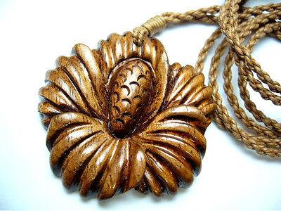 NEW Genuine Koa Wood Hawaiian Jewelry Flower Pendant Choker//Necklace  # 45045