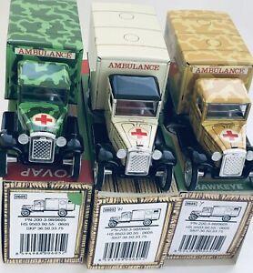 Rare-Set-of-3-Retro-Tin-Toy-Hawkeye-Ambulances-by-Kovap-Collectible