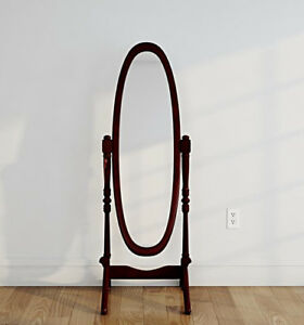 Oval Oblong Cheval Tilting Full Length Floor Mirror On Stand, Cherry ...