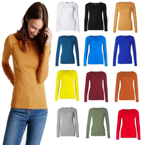 New Womens Long Sleeve Round Neck Plain Basic Ladies Stretch T-Shirt Top 8-26