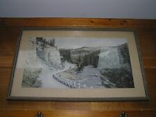 Vintage Hand Colored Picture of Road Along Stream in Hills Mountains in Gilt &