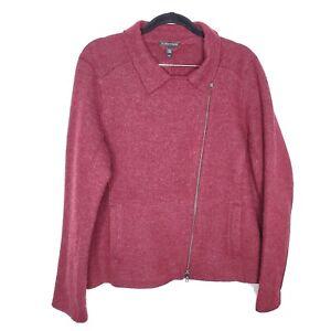 Eileen Fisher women L red wool causal career moto sweater jacket coat