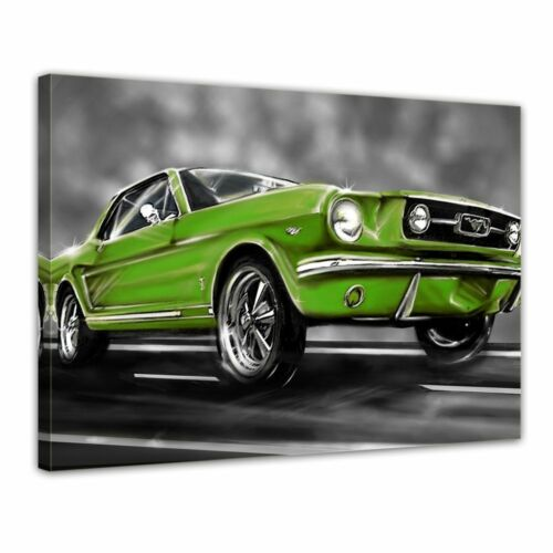 Canvas Picture-Mustang Graphic Green