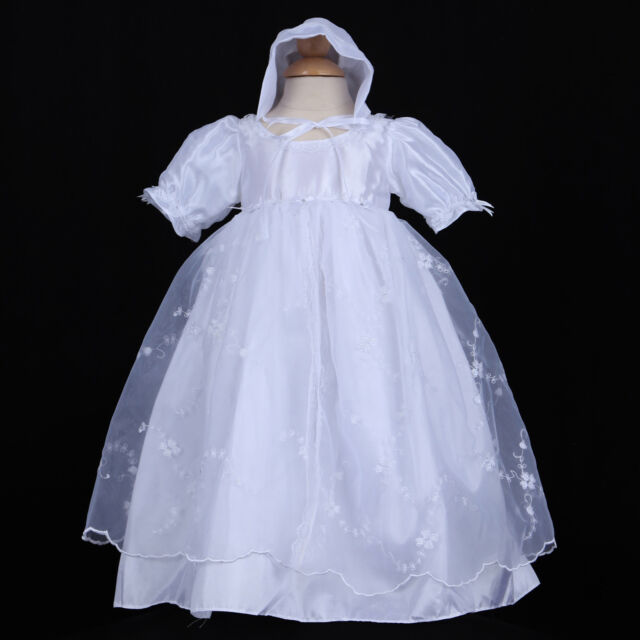 Baby Girl Christening Baptism Formal White Dress Gown size 0M 12M 18M white New