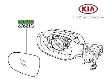 Original Kia Sorento 2010-2015 espejo del lado del pasajero de vidrio-LH 876112P030