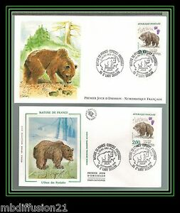 1991-FRANCE-FDC-2-NATURE-L-039-OURS-DES-PYRENEES-OBL-ST-LARY-SOULAN-Y-T-N-2721