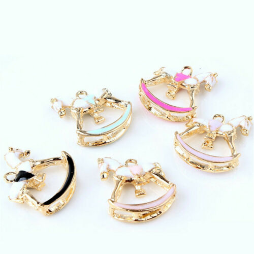 5pcs Multi-Color 25x22mm Rocking Horse Pendant Charm Jewelry DIY Accessories