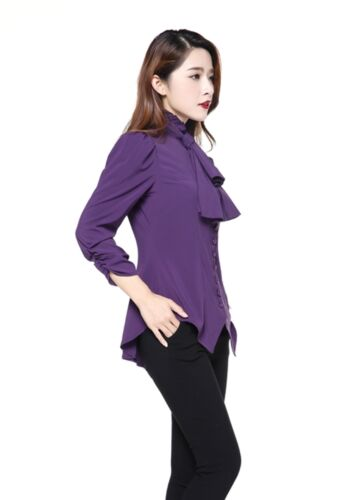 Purple Steampunk Gothic Victorian Retro Ruched Top Blouse with Scarf 8 to 30