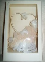 Vintage Wedding Cake Topper Heart Lace Pink