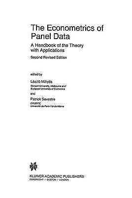 The Econometrics of Panel Data: A Handbook of the Theory with Applications (Adva