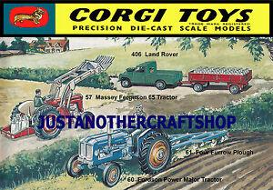 Corgi-Toys-57-61-406-Granja-Tractor-A3-tamano-poster-ANUNCIO-FOLLETO-signo-de-pantalla