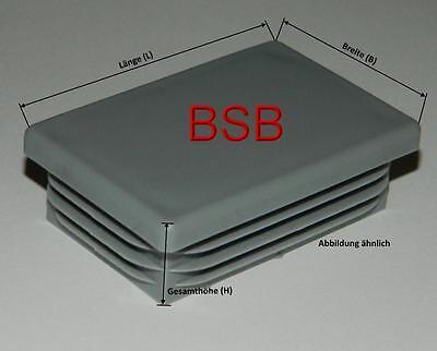 10 Lamellenstopfen 50x30 in GRAU für WS1,0-2,5mm  Rechteckstopfen , Rohrkappen