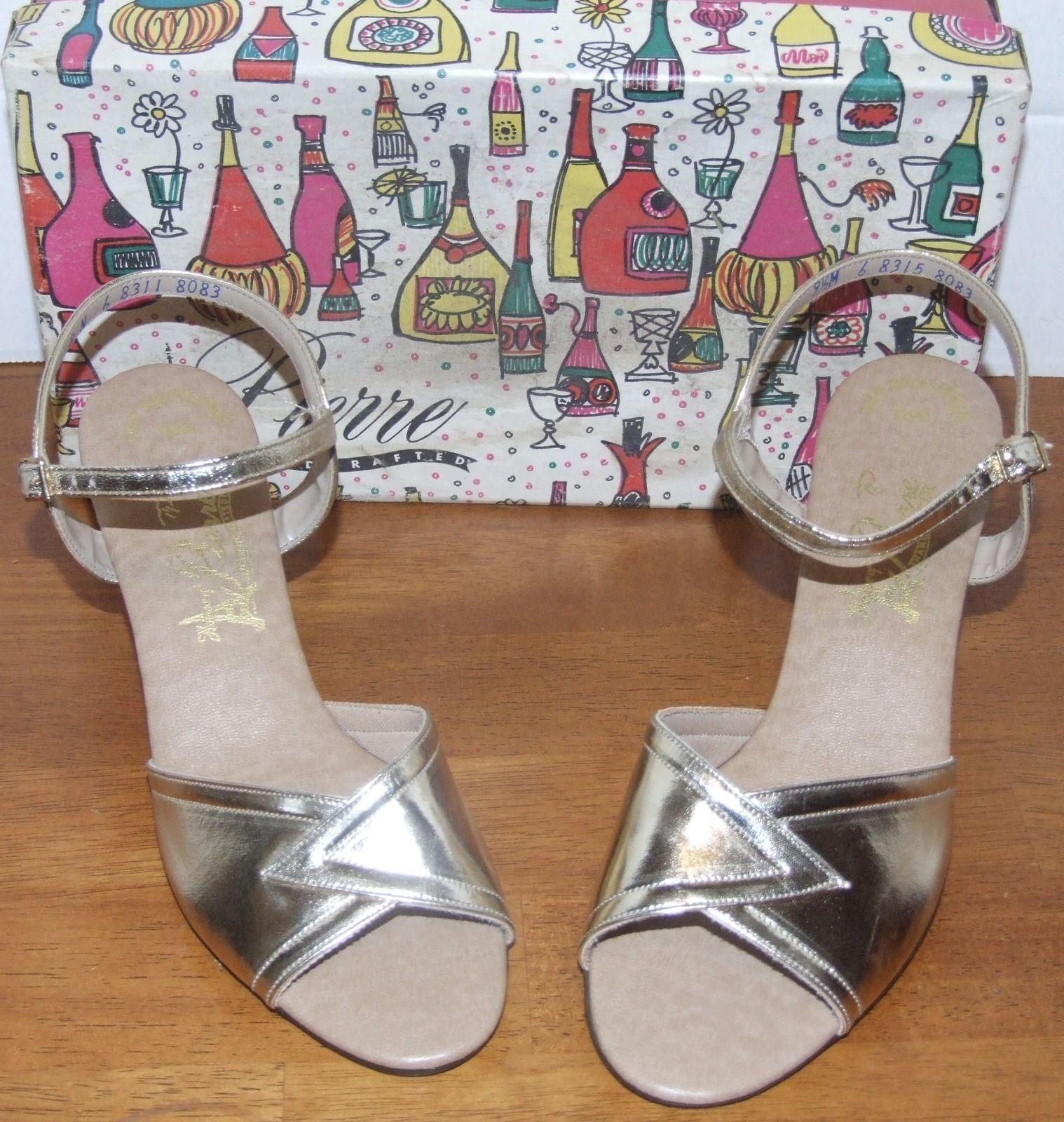House Toe of Pierre Gold Open Toe House Heeled Shoe 9 ½ M 54956e