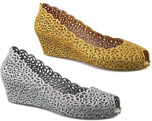 Ladies Womens Mid Wedge Heel Peep Toe Sparkly Glitter Evening Courts Shoes Size