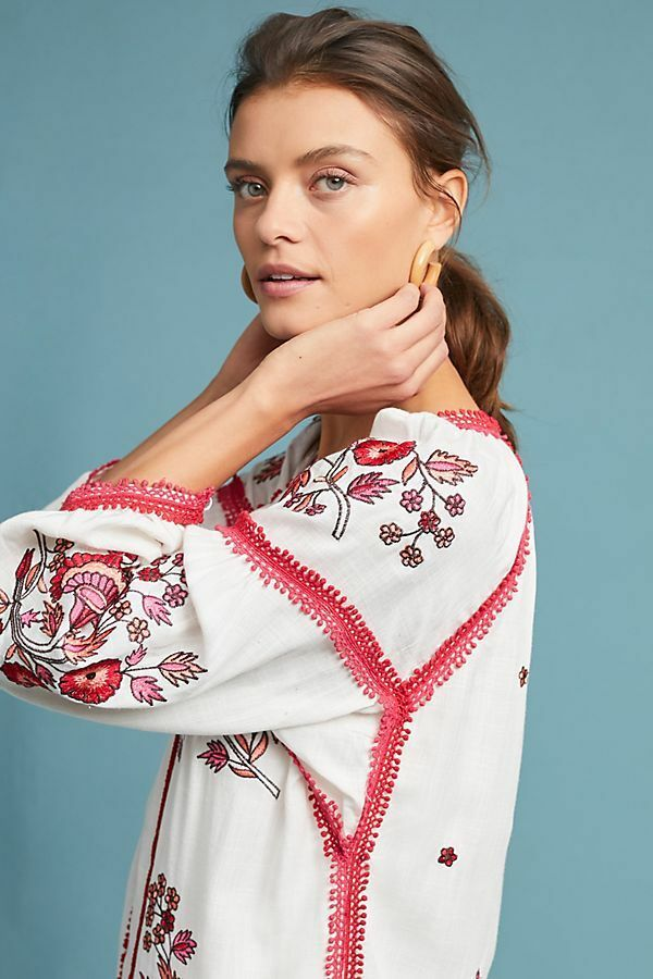 NWT nouveau Anthropologie  Ranna Gill Hadley Embroiderouge Floral Robe Tunic XS