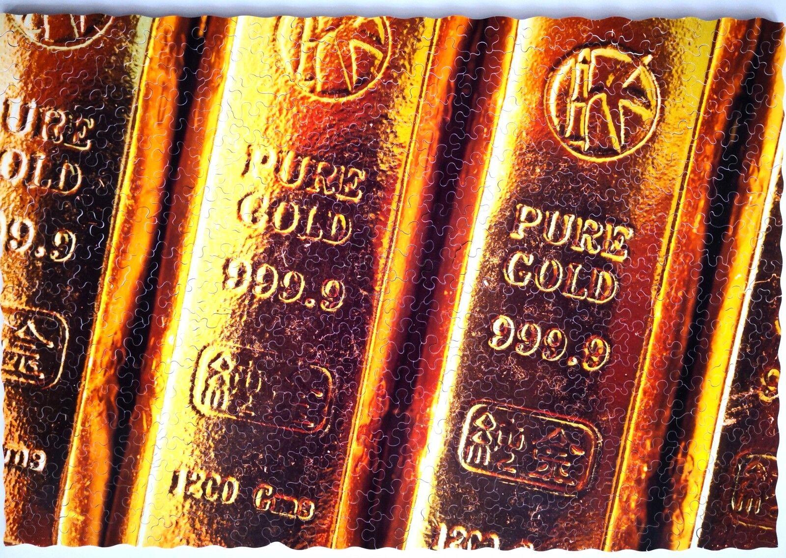 New Handcut träen Jigsaw pussel guld RUSH 400 -500 pcs i trälåda