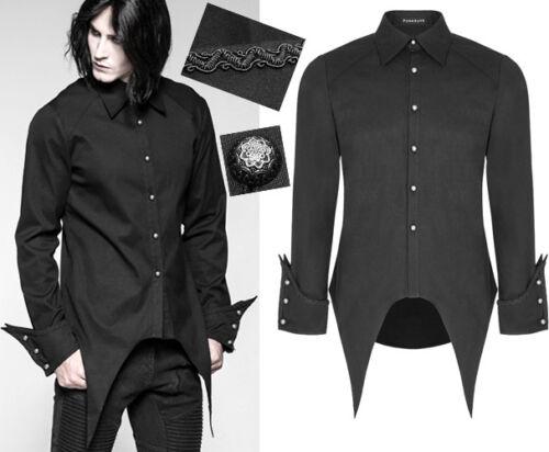 Chemise gothique baroque militaire vampire pointes broderies PunkRave Homme Noir