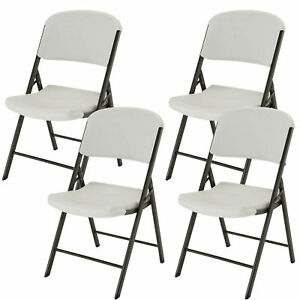 lifetime commercial contoured folding chair white or almond 4