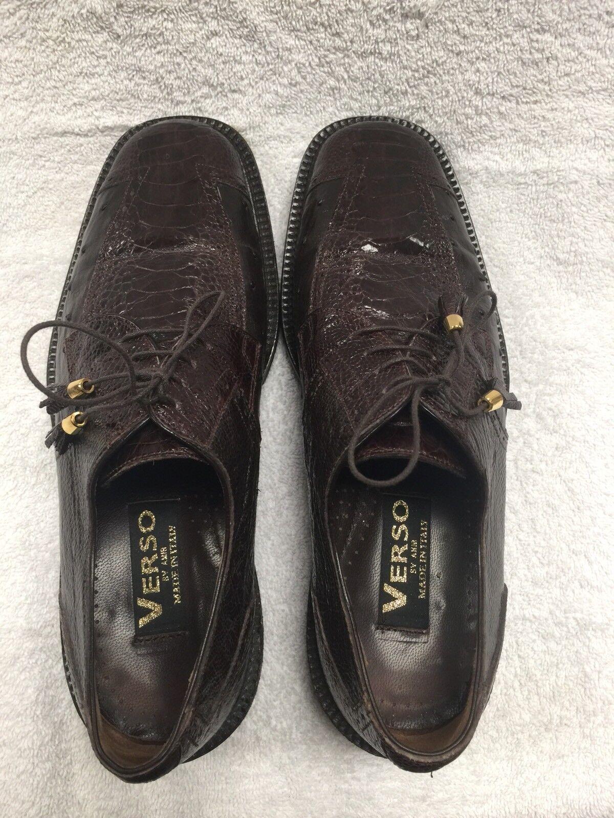 Zapatos De Vestir Verso por AMRhombres Marrón Oxfords comodidad de cocodrilo Italia D