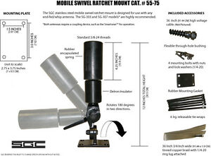 New-SGC-Whip-Antenna-Mount-sg-303-307-Hf-frequency-HAM-Marine-55-75-Mobile-Base