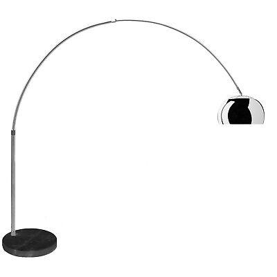 Lampada ad arco in alluminio con base rotonda in marmo Bianco F1034 NERO