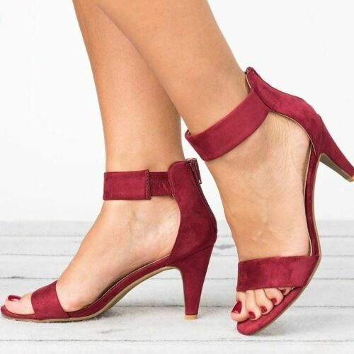 Details about  /Women Sandals Ankle Strap Open Toe Summer  High Plus Size Thin Heels Rubber Open