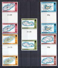 Alderney 1989 postfrisch Stegpaar MiNr. 37-41  Landkarten von Alderney.