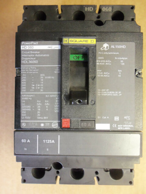 Square D Hdl36060 60 Amp 3 Phase 600 Volt PowerPact Circuit Breaker ...