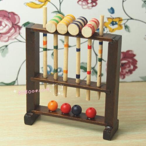 Dollhouse Miniature  1:12 Toy Garden Toy wooden croquet set H6.7cm RL1335