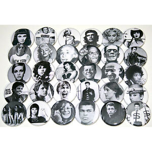 FAMOUS-ICONIC-FACES-Lot-of-30-BADGES-Buttons-Pins-Bulk-Wholesale-25mm-One-Inch